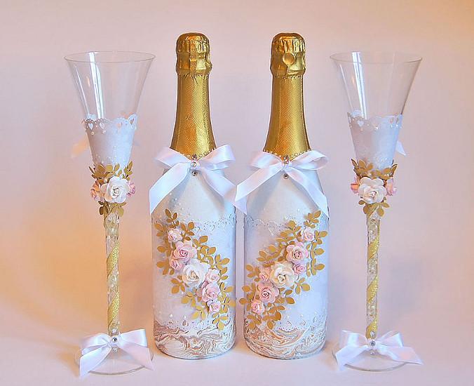 Як прикрасити шампанське на весілля своїми руками