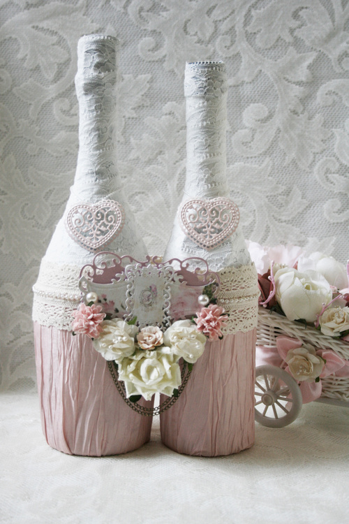 Як оформити шампанське на весілля своїми руками